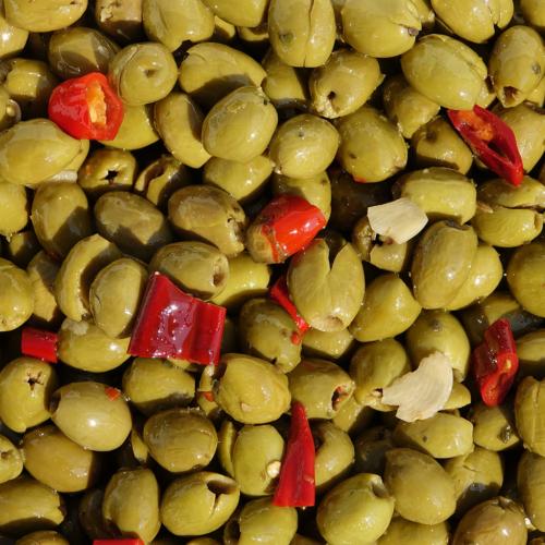 Olive schiacciate denocciolate piccanti